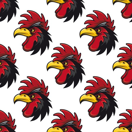 cluck: Cartoon cock or rooster seamless pattern with a repeat motif of the side view of its head with a colorful red comb and wattle Illustration