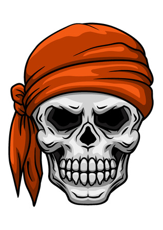 Spooky cartoon skull in orange bandana or kerchief for tattoo, comics or halloween party design Illustration