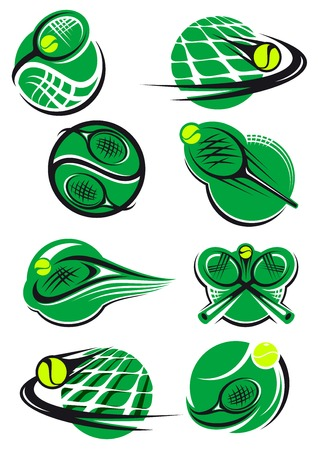tennis serve: Green tennis icons with a ball, net and racket mostly depicting speed and motion for sports