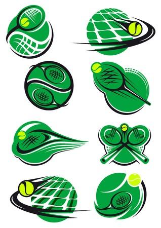balones deportivos: Iconos tenis verdes con una bola, red y la raqueta en su mayor�a que representa la velocidad y el movimiento de los deportes Vectores