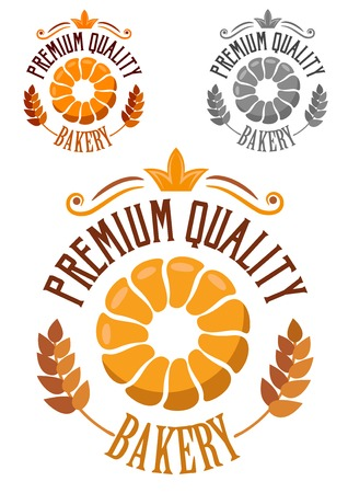 bakery sign: Premium Bakery badge or label with ears of ripe wheat, round croissant and text in a circular design in three colour variations
