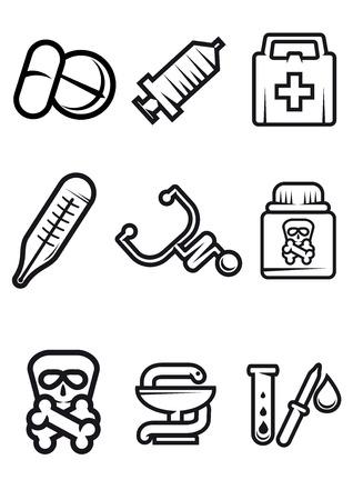 botiquin de primeros auxilios: Iconos médicos del Esquema de vectores en blanco con pastillas, jeringas, equipo de primeros auxilios, termómetro, estetoscopio, veneno, caduceo y tubo de ensayo y negro
