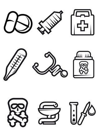 Outline vector medical icons in black and white with tablets, syringe, first aid kit, thermometer, stethoscope, poison, caduceus and test tube Vector