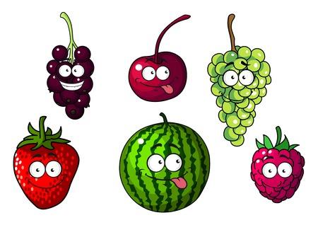 Felices frutos de dibujos animados de colores lindos y bayas que representan una fresa, cereza, uvas verdes y púrpuras, sandía y frambuesa, ilustración vectorial en blanco