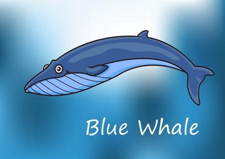 hump: Cartoon blu balena nuoto subacqueo con la luce del sole pezzato e il testo Blue Whale sotto Vettoriali