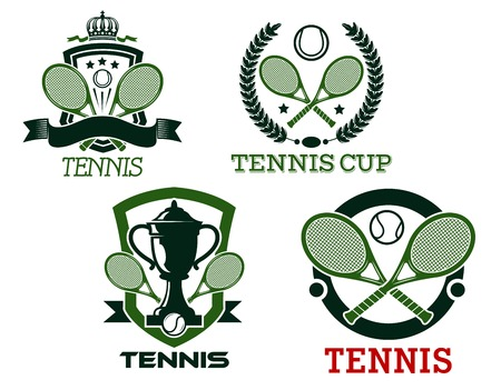 Green vector tennis badges or emblems for clubs and championships with crossed rackets on shields, wreaths or in a round frame with banner or text Vector