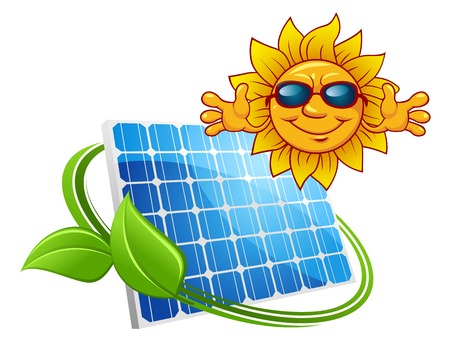 Solar energy concept with happy sun wearing sunglasses above a photovoltaic panel entwined with a green leaf, isolated on white Çizim