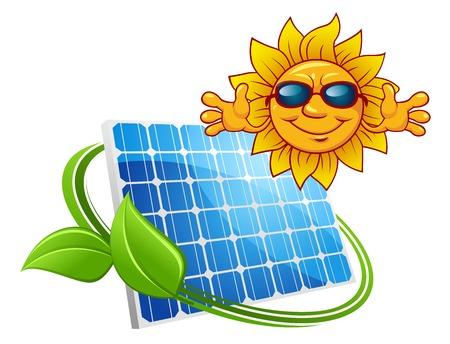 Zonne-energie concept met gelukkige zon dragen van een zonnebril boven een fotovoltaïsch paneel verstrengeld met een groen blad, geïsoleerd op wit