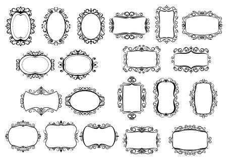 Marcos vintage caligráficas clásicas y las fronteras establecidas en dibujos en blanco y negro con forma diferente rodea, todo ello con copyspace central, elementos de diseño vectorial