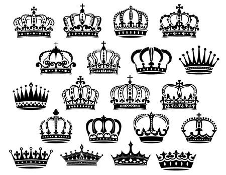 corona reina: Royal coronas heráldicos medievales establecidos en blanco y negro adecuado para la heráldica, la monarquía y los conceptos de la vendimia Vectores