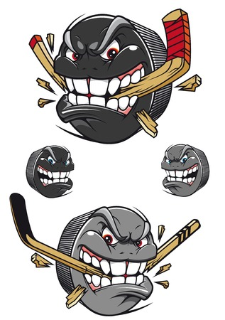puck: Angry evil hockey puck chomping an ice hockey stick with a toothy leer, two color variants and two with faces and no stick