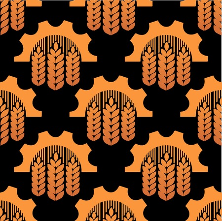 pinion: Seamless pattern of ears of wheat and gears conceptual of agriculture and industry, in orange on brown in square format