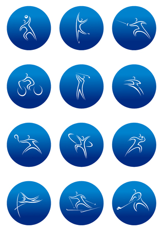 high jump: Blue vector round sporting icons with white line sketches of high jump, ice hockey, tennis, skiing, golf, karate, cycling, basketball, dancing and other sports