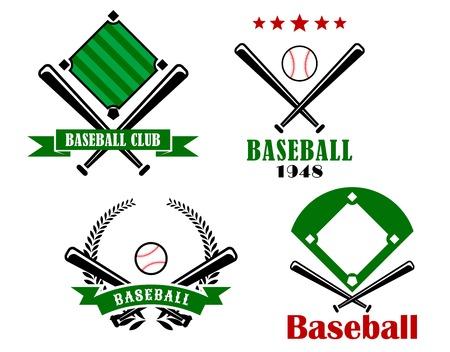 at bat: Béisbol luciendo emblemas o insignias con palos cruzados, dos con lanzamientos y el texto y uno con una bola y las estrellas, y el otro con una bola, bandera y corona Vectores