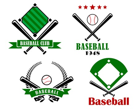 baseball bat: Baseball sporting emblems or badges with crossed bats, two with pitches and text and one with a ball and stars, the other with a ball, banner and wreath