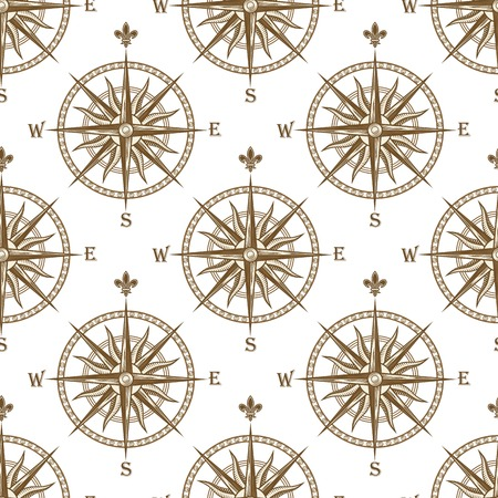 Compass seamless background pattern with a repeat motif of a vintage compass for nautical and marine themed concepts in square format