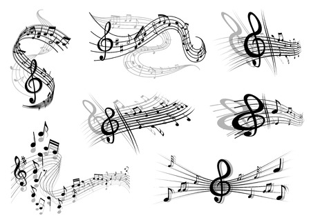 Musical waves with music notes and a clef on swirling staves Vectores