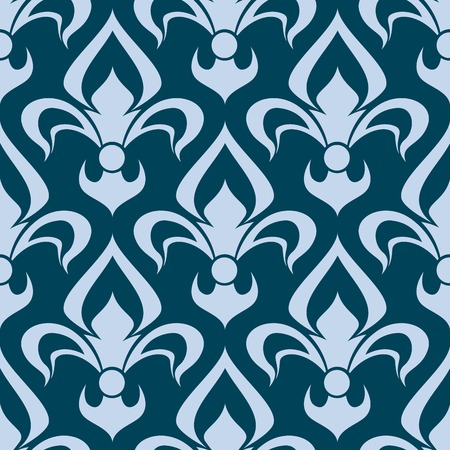 french symbol: Arabesque seamless pattern with a stylized fleur de lys repeat motif in blue in a square format Illustration