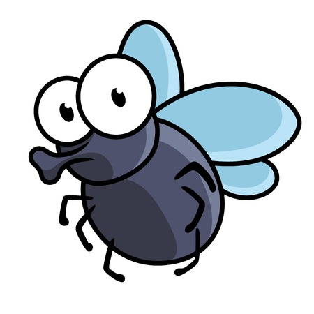 proboscis: Cute little cartoon fly insect in blue with big googly eyes and a protruding proboscis