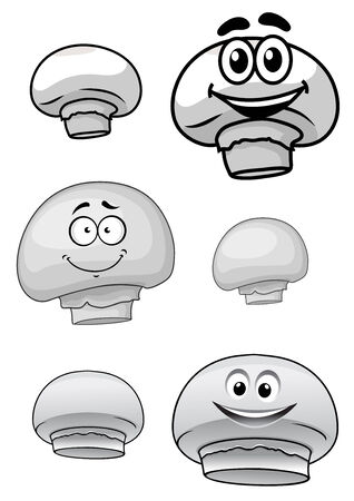 champignon: Set of cute cartoon champignon mushrooms each shown with a happy smiling face and a second plain variation Illustration