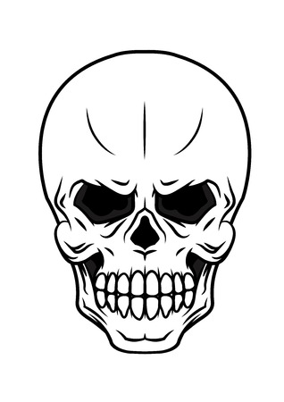 skull vector: Black and white danger vector cartoon skull icon with teeth suitable for Halloween, horror tattoo or piracy concepts