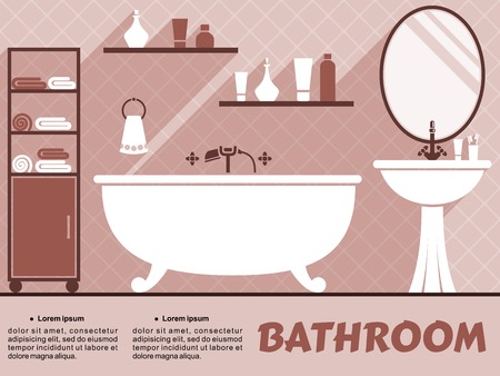 cuarto de ba�o: Ba�o infograf�a dise�o interior con espacio editable de texto y una ba�era, lavabo, espejo y estantes con art�culos de tocador y toallas en tonos de rosa oscuro
