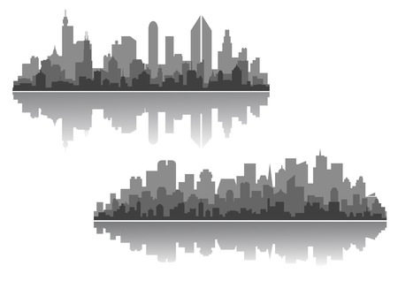 Modern cityscape vector designs with silhouettes of multiple high-rise buildings and skyscrapers with a reflection