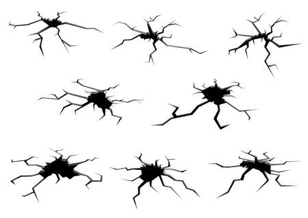 peligro: Agujeros y grietas del suelo blanco y negro de la historieta fijados para el dise�o