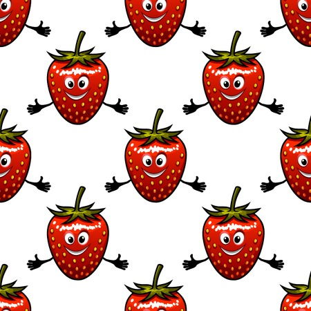 cartoon strawberry: Seamless pattern with cartoon strawberry fruits, happy faces and hands Illustration