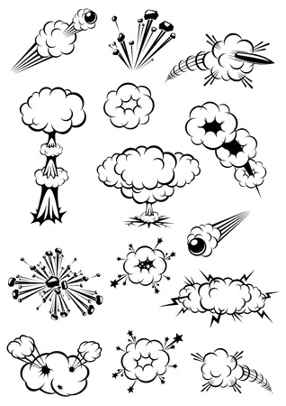 Cartoon black and white explosions of bombs and motion trails of bullets Ilustração