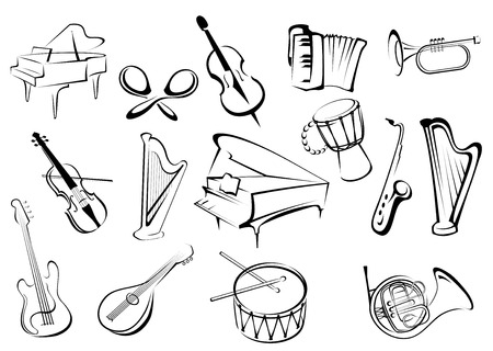 musical notes background: Large set of musical instruments icons in sketch style with a piano, castanets, violin, trumpet, horn, guitar, drum, harp and saxophone