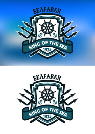 trident: Seafarer and  King Of The Sea banner or emblem with crossed tridents behind a shield, anchors and helm