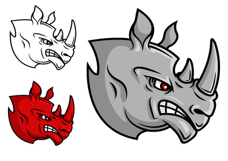 Fierce cartoon rhino head with glaring eyes in profile in three variations, isolated on white Illustration