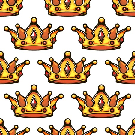 Cartoon emperor golden crowns seamless pattern for vintage or VIP design Vector