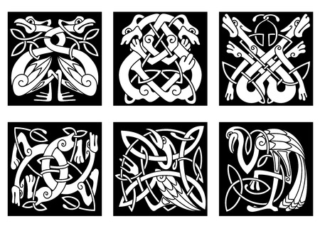 White on black intricate celtic birds and animals as stork, heron, dog, wolf, crane and goose Vector