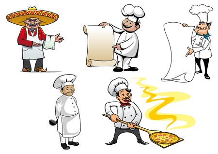 appetite: Set of international chefs colored vector character icons with a Mexican, French, German, an oriental cook and Italian making pizza Illustration