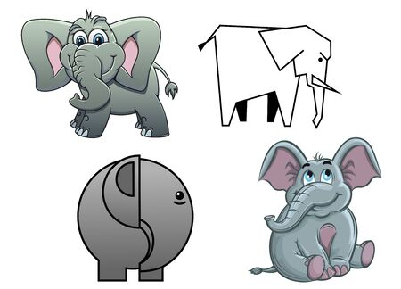 flapping: Cute cartoon baby elephants , two in profile and two facing with happy smiles and flapping ears Illustration