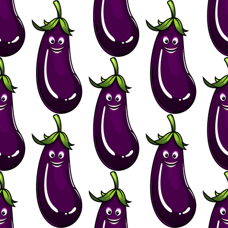 unpeeled: Seamless background pattern of a ripe purple eggplant or brinjal with a cute happy grin, square format repeat motif on white