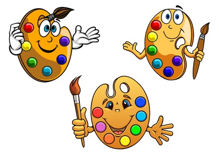 tempera: Cartoon happy artists palettes with colorful paint in different shapes with happy smiling faces holding paint brushes
