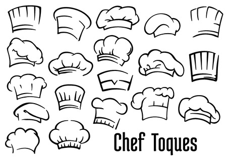 cooking chef: Chef or baker hats and toques set in cartoon style