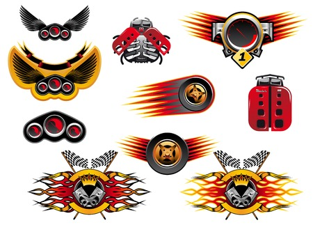 Colorful motor sport and racing icons with wheels with speed trails or flames, winged emblems and stylized mechanical lady birds