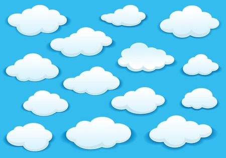 White fluffy cloud icons on a turquoise blue sky in different shapes with a drop shadow