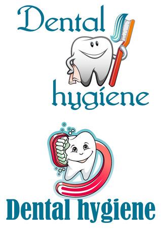 higiene bucal: Logo higiene dental y mascotas con sano dientes sonriendo cartooned, cepillo de dientes rojo y pegar para la salud, banderas de odontología