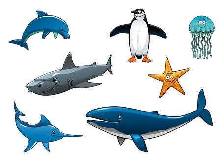 aquatic bird: Marine wildlife colored animal characters in vector depicting a dolphin, penguin, shark, marlin, whale, jellyfish and starfish