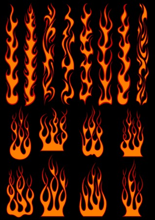 Various fiery vector tribal flames in colorful orange on black including long trails suitable as depicting speed