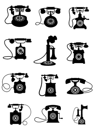old: Black and white silhouettes of  vintage telephones isolated on white background
