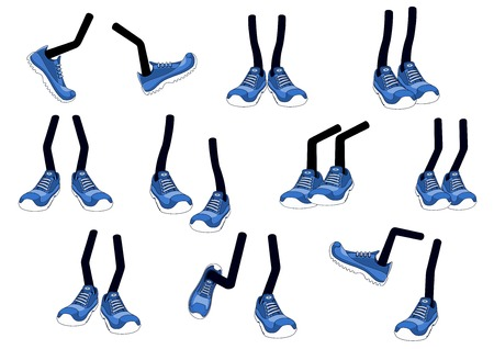 Cartoon vector walking feet in blue trainers or sneakers on stick legs in various positions