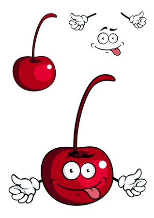 berry fruit: Cute cartoon cherry fruit giving a thumbs up while sticking out its tongue in two variations, one with a face and one without with separate smile elements Illustration