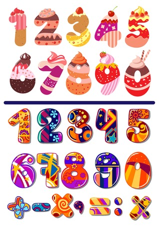 Two colorful sets of vector numbers or digits, one decorated as cakes for a kids birthday party and the second with geometric patterns including maths icons for calculation Ilustração