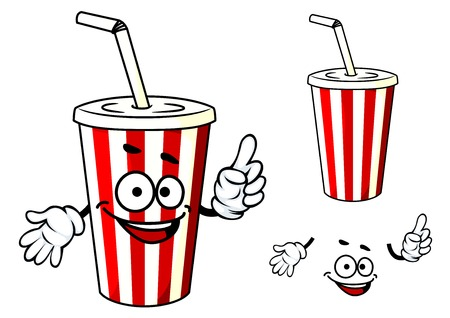 soda: Cartoon red and white stripe soda or juice  cup with happy face and hands
